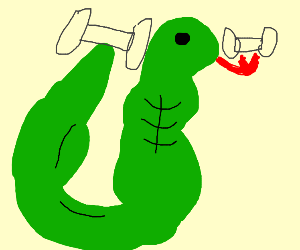 Really buff snake lifting weights