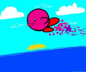 Look, guys! Kirby's flying over the ocean!
