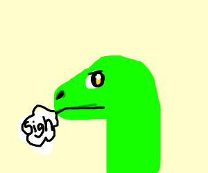 Green dinosaur sighing