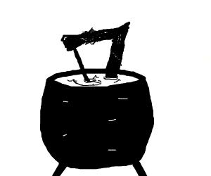 self mixing potion culdron