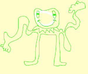 Kermit frog with thin limbs
