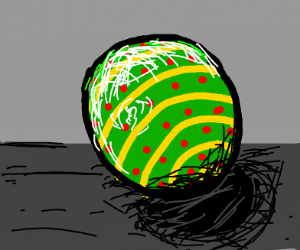green ball with red dots and yellow lines