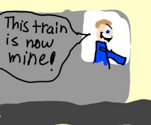 guy driving a subway train