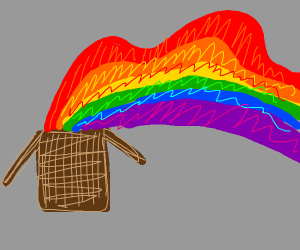 box with rainbow pouring out of it
