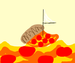 Pizza ship sailing across the pepperoni sea