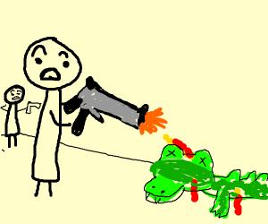 Crocodile shot down by two men with guns