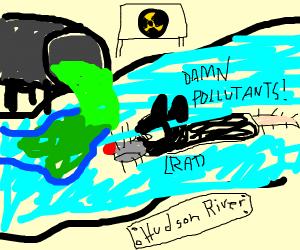 rat swimming through radioactive river