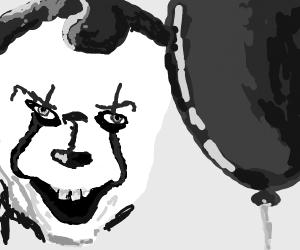 scary clown w/ a balloon
