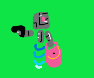 armed robot carrying a pink bag