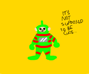 green teletubby with red stripes