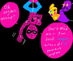 Spider Man hanging upside down