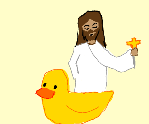 Jesus atop a rubber duck holding a crusifix a