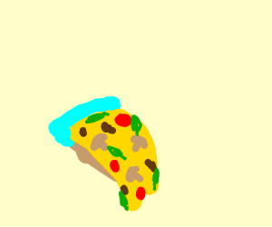 Pizza with cyan crust