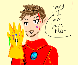 Tony Stark with the Gauntlet