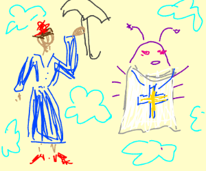 MARY POPPINS FLYING NEXT TO A RELIGIOUS BUG