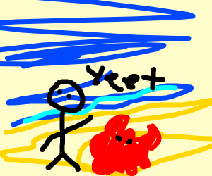 Person yeets a crab