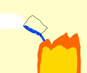Pouring water onto fire