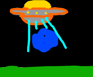 Alien ship abduct blue boulder