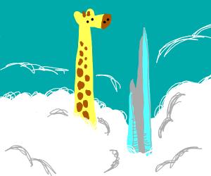 Giraffe is taller than the tallest building