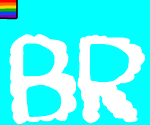Rainbow stripes Top Left, blue sky clouds BR