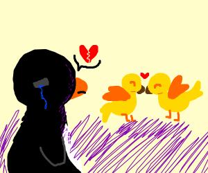 Penguin sees birds in love