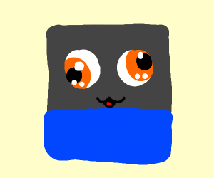 a gray square with derp face wearing blue