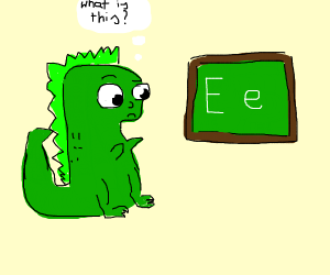 t-rex is confused about the letter e