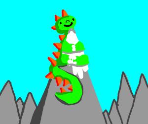 dino on a mountain
