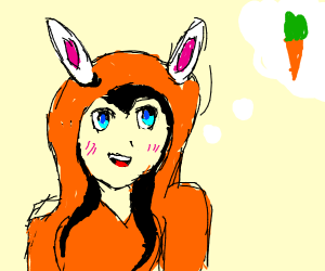 anime bunny with a hoodie