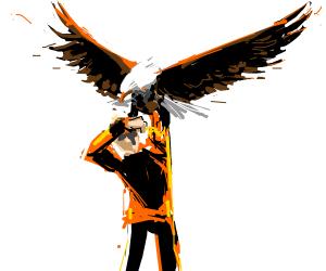 Eagle attacking person