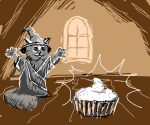 cat wizard makes an anime cupcake