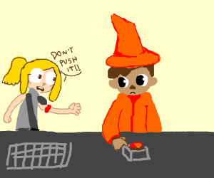 no! don't push it, orange magician!