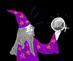 crazy purple wizard with crystal ball
