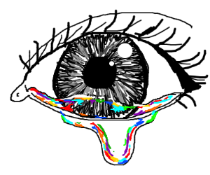 Colors reflected in a crying eye