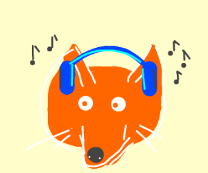 Fox listening to music