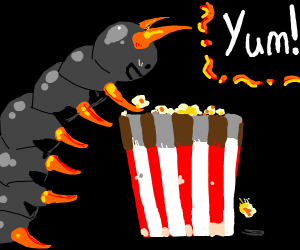 Centipede eating popcorn