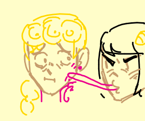 bruno licking giornos face