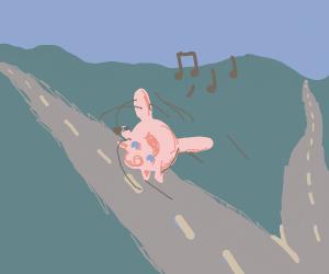 jiggly puff w longlegs cartwheeling down road