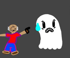 old man threatening friendly ghost