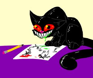 Crazy cat drawing