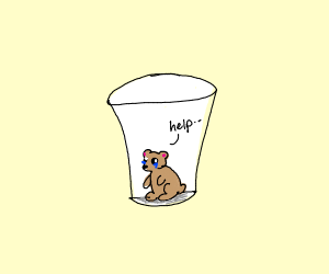 Hamster stuck in a cup