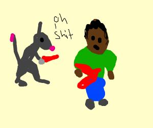 rat accidentally murders green shirt man