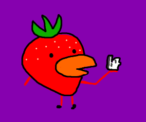 strawberry with beak and paper ball