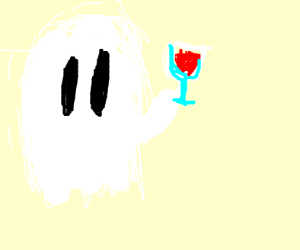 Fuzzy ghost with fancy drink