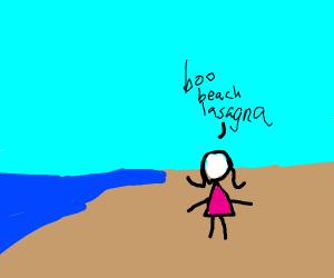 Girl doesn't like the beach