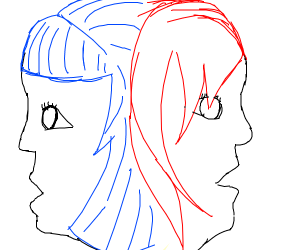 a red haired girl, and a blue haired girl