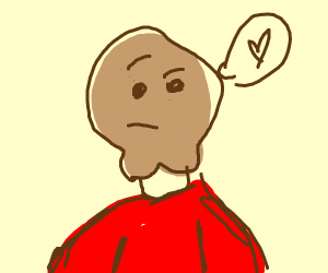 guy with bum chin thinks about love