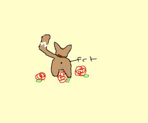 cat pooping roses