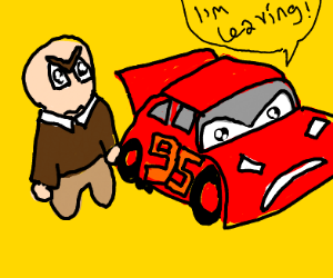 Lightning McQueen leaves bald guy.