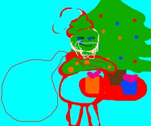 Transparent Santa hauling bag of air